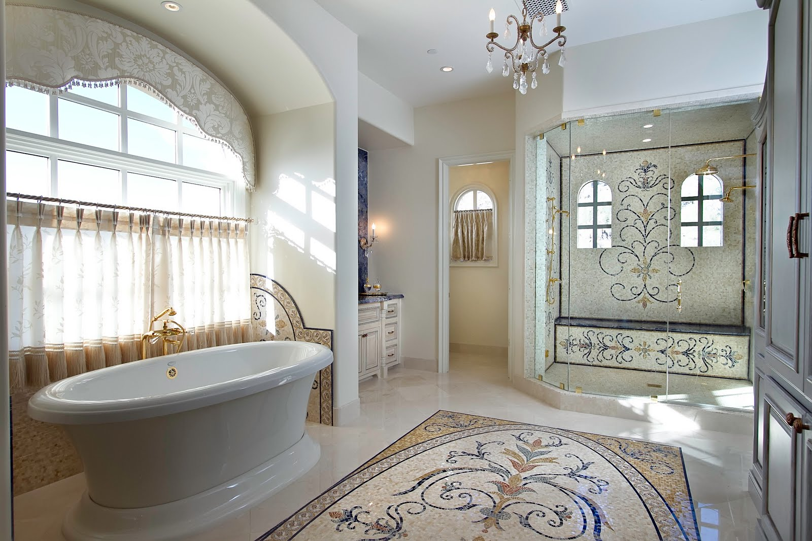bathroom-gorgeous-image-of-bathroom-decoration-using-mosaic-medallion-bathroom-flooring-including-white-glass-crystal-bathroom-chandelier-and-cream-mosaic-medallion-high-end-bathroom-tile-interactive