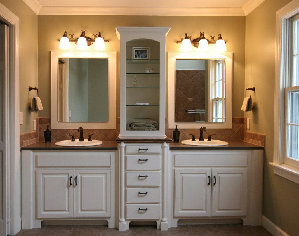 bathroom-great-small-bathroom-remodeling-with-white-bathroom-cabinet-designed-with-twin-sink-also-rectangular-mirror-and-wall-lighting-combine-with-brown-tile-floor-great-small-bathrooms-design-ideas
