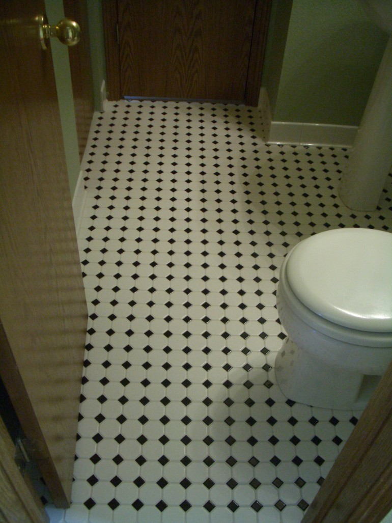 Bathroom floor laminate tiles