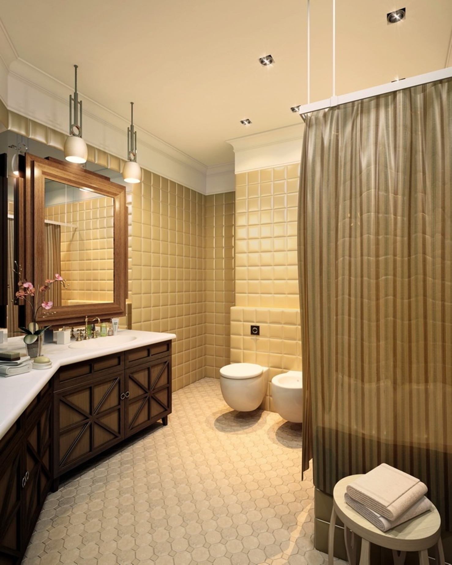 brown-art-deco-bathroom-with-floatin-toilet-and-bidet-and-tub-with-curtain-and-bathroom-vanity