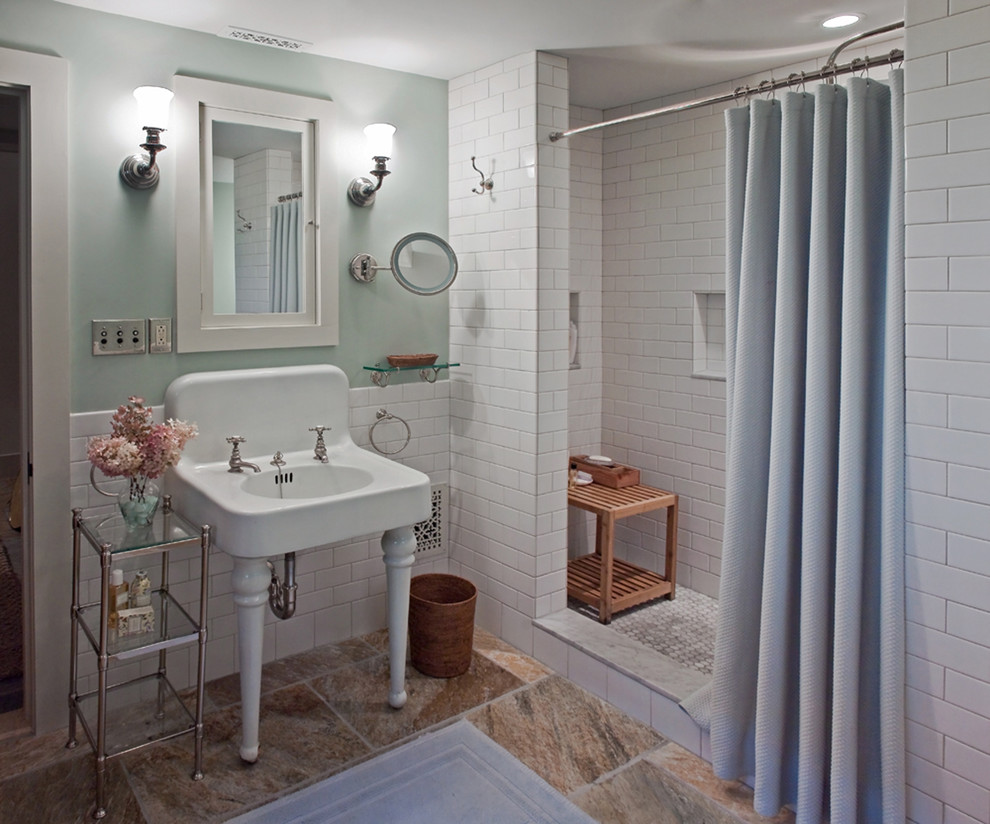 ceramic-tile-showers-Bathroom-Traditional-with-alcove-area-rug-console