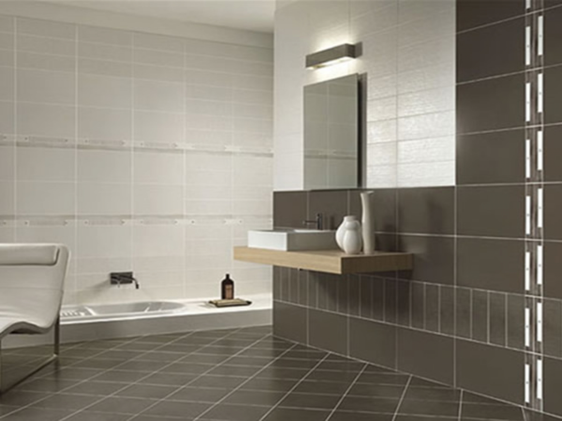 dark-gray-ceramic-bathroom-wall-tile-mirror-without-frame-wooden-hardwood-vanity-mounted-bathtub-beautiful-gallery-showroom-contemporary-decorating-tiled-bathrooms-styles