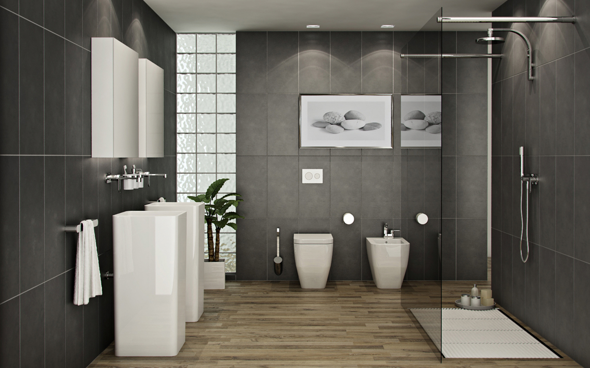 ... Fantastic Modern Bathroom Design Furniture And Gray Tiles ... Part 58