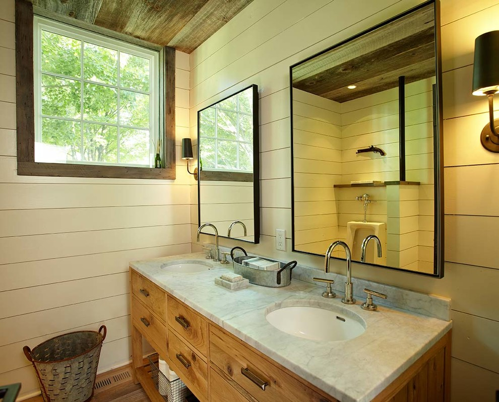 farmhouse-bathroom-vanity-Bathroom-Farmhouse-with-acoustic-panels-antique-furniture