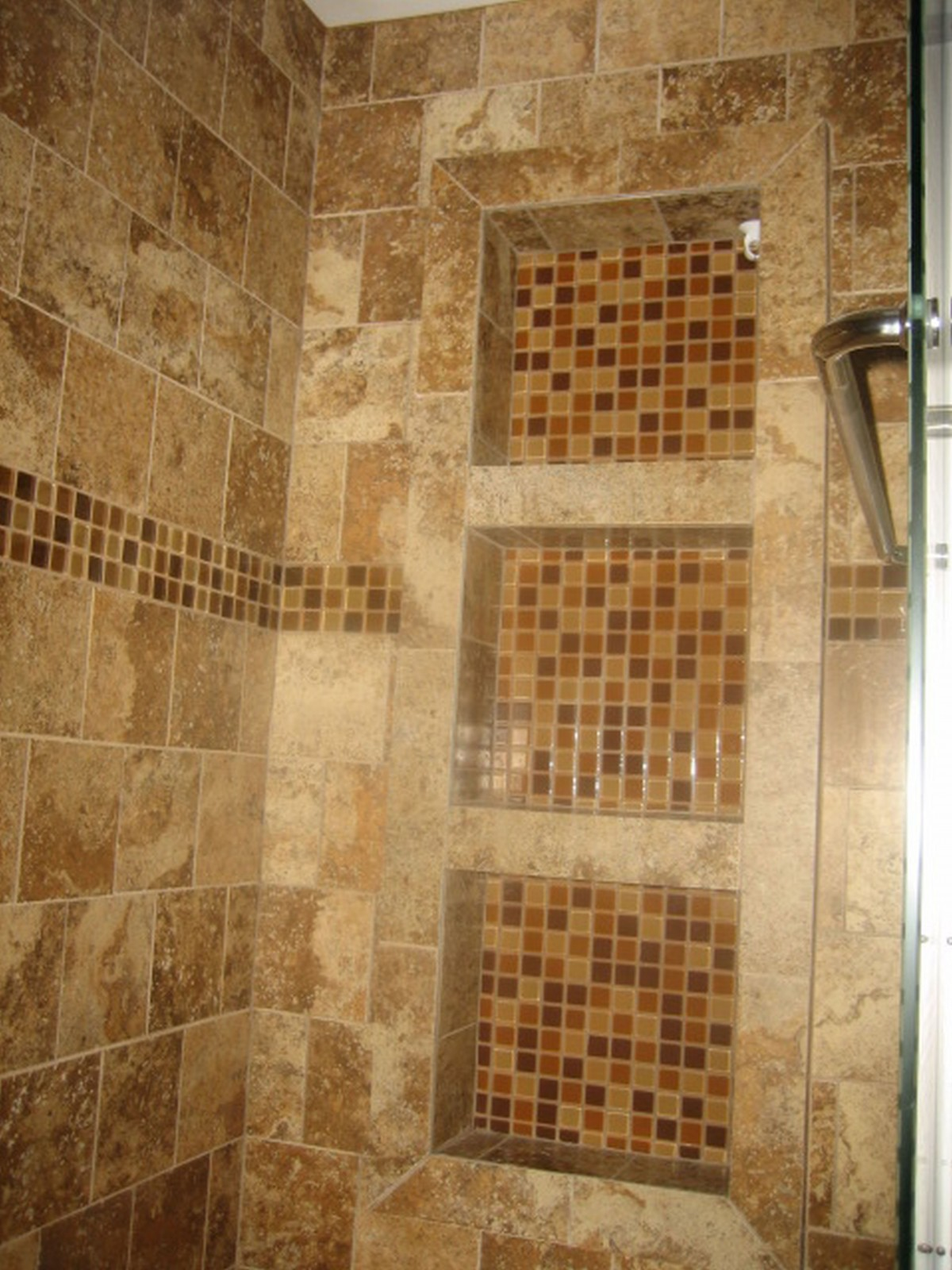 30 cool ideas and pictures of bathroom tile art for Cabin shower tile ideas