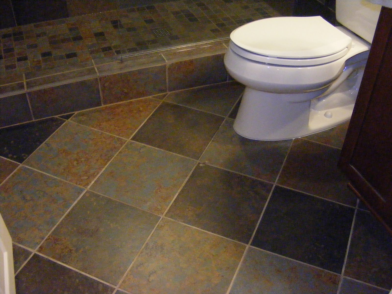 Gray Ceramic Flooring Tile White Toilet Shower Gallery