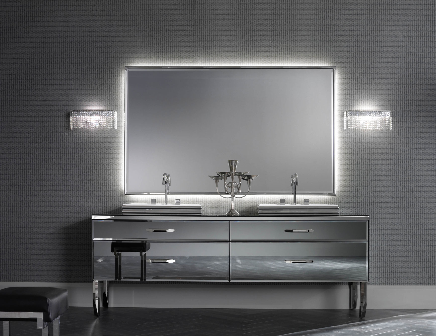 gray-wall-paint-mirror-without-frame-real-wood-rustic-natural-color-vanity-with-storage-drawers-ceramic-flooring-tile-wall-lamps-a-creating-option-for-designing-luxury-bathrooms