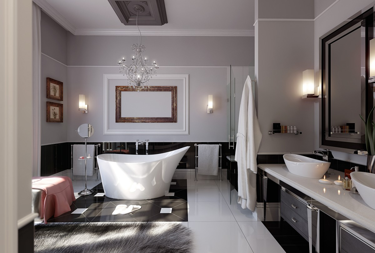 gray-wall-paint-standalone-bathtub-ceramic-flooring-tile-chandelier-wall-lamps-washbasin-storage-drawers-vanity-faucet-head-new-construction-farmhouse-with-bathroom-chandeliers-1200x810