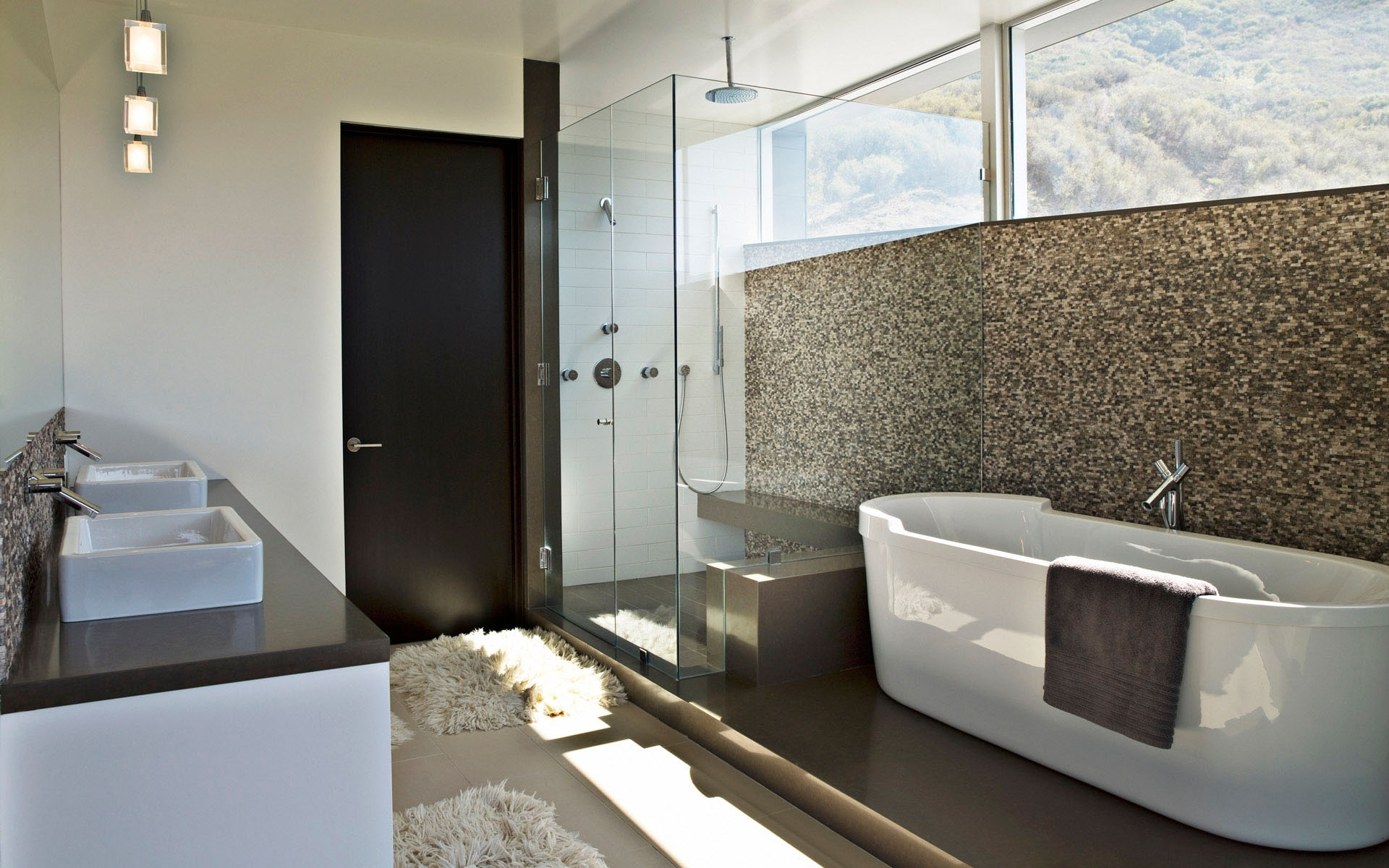ideas-bathroom-proud-ceiling-rain-head-shower-feat-glass-divider-shower-also-white-square-bathtub-added-mosaic-wall-tile-and-fur-bath-mat-as-decorate-modern-apartment-bathroom-ideas-goodly-square-bat