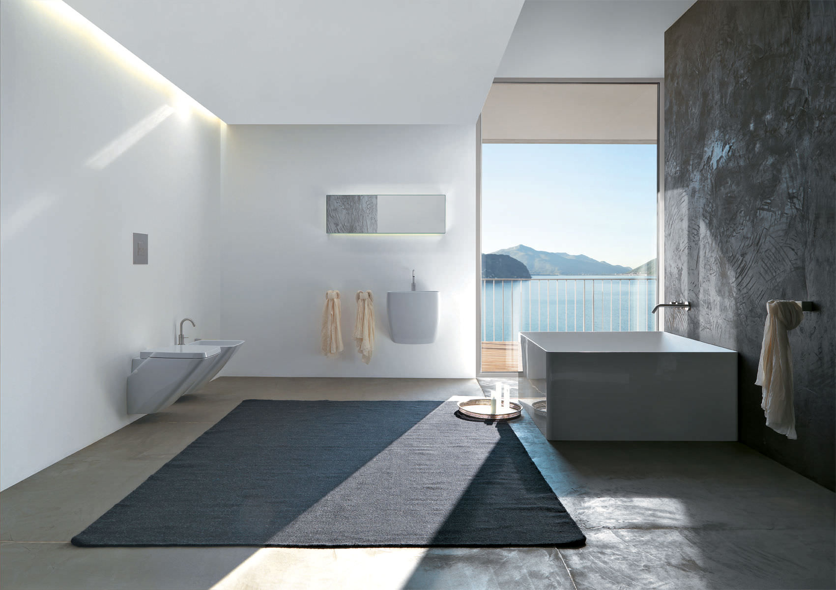 ideas-bathroom-resplendent-modern-false-ceiling-light-over-vanity-as-well-as-black-bathroom-rug-also-square-bathtub-added-grey-gloss-ceramic-wall-tile-in-open-views-modern-bathroom-designs-goodly-squ