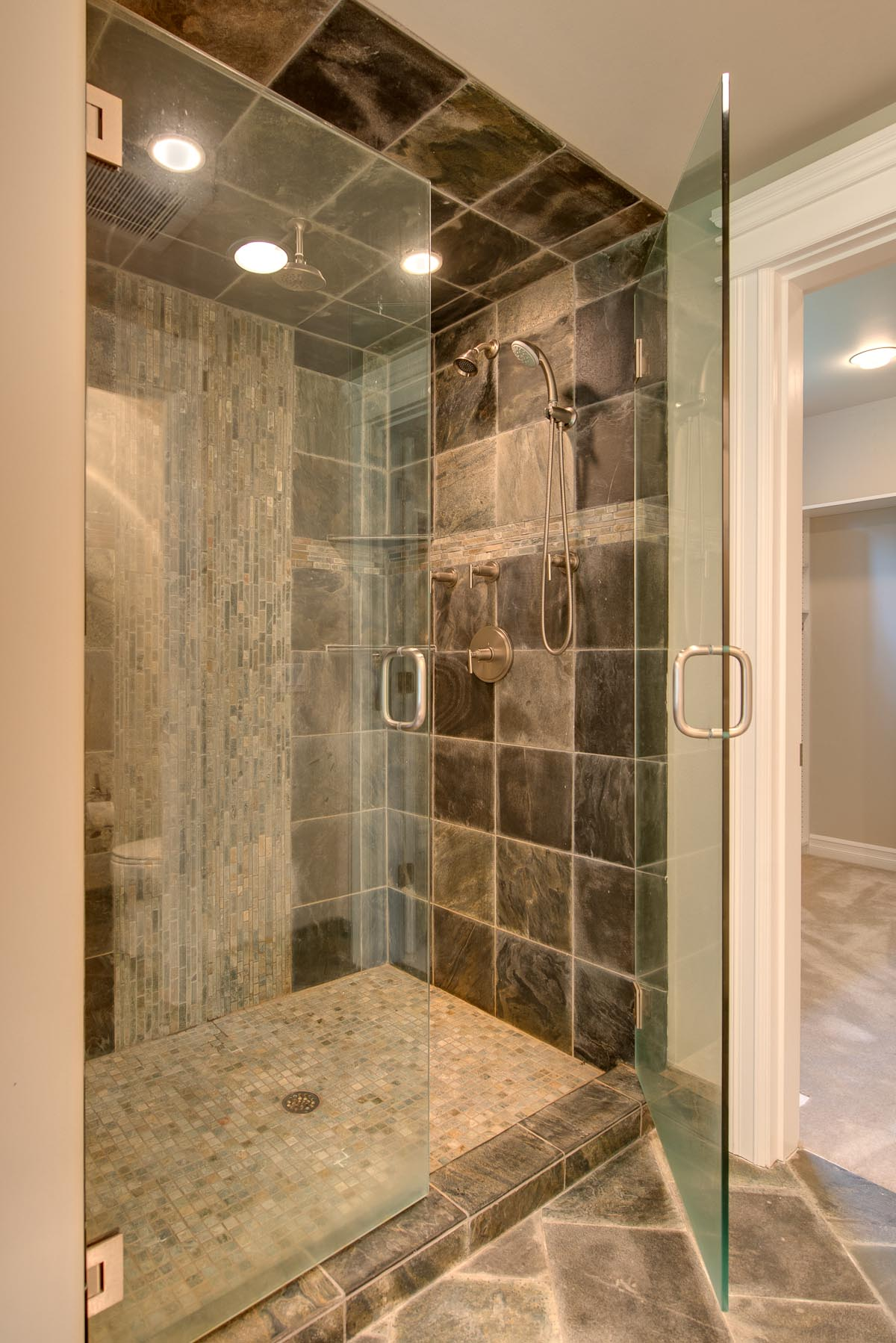 inspiration-bathroom-stylish-grey-ceramic-bathroom-tiles-with-swing-frameless-glass-door-as-inspiring-small-showers-designs-cute-small-showers-smart-space-saving-ideas-and-design