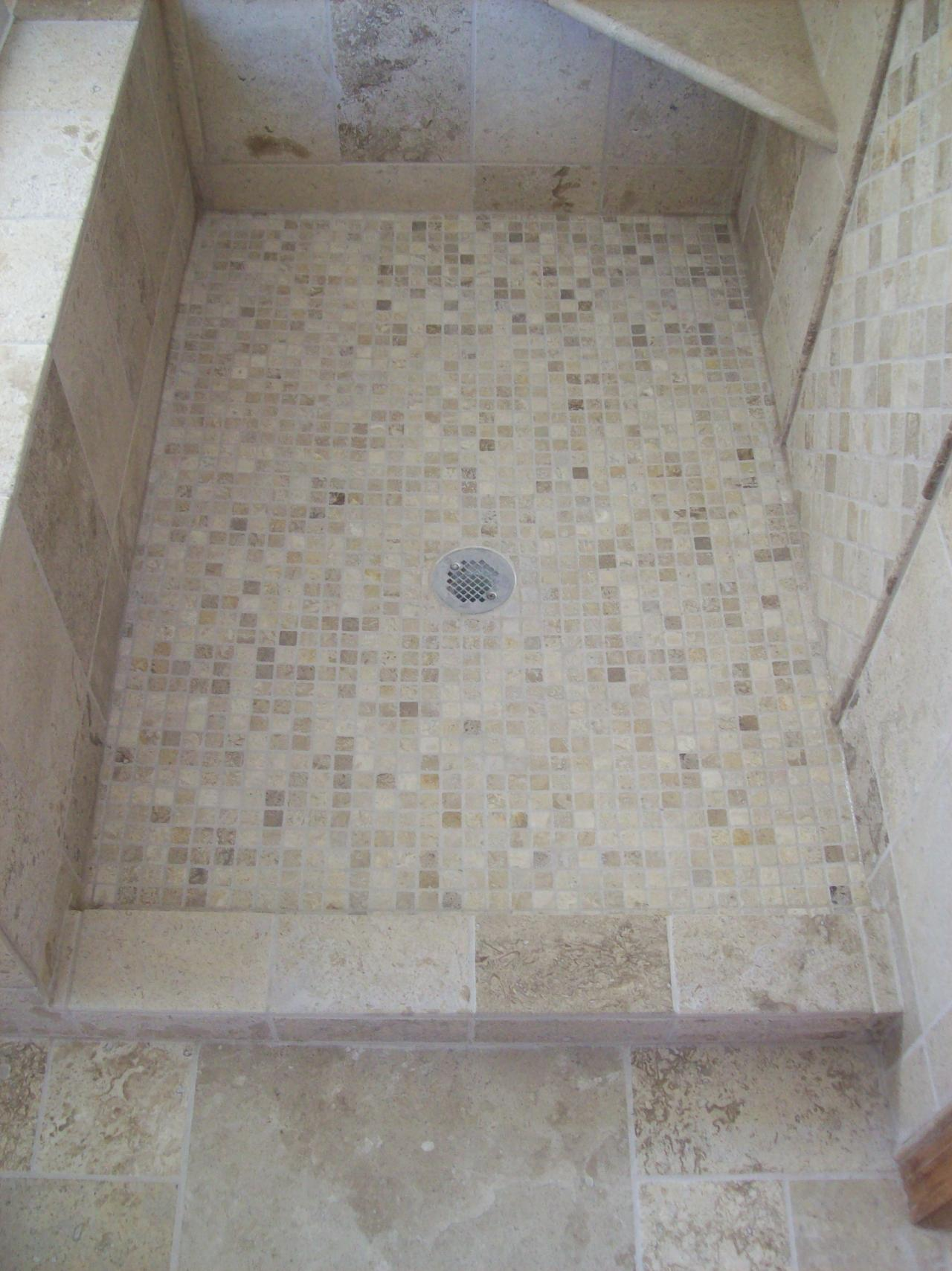 30 great ideas and pictures of bathroom tiles cork for Shower floor tile