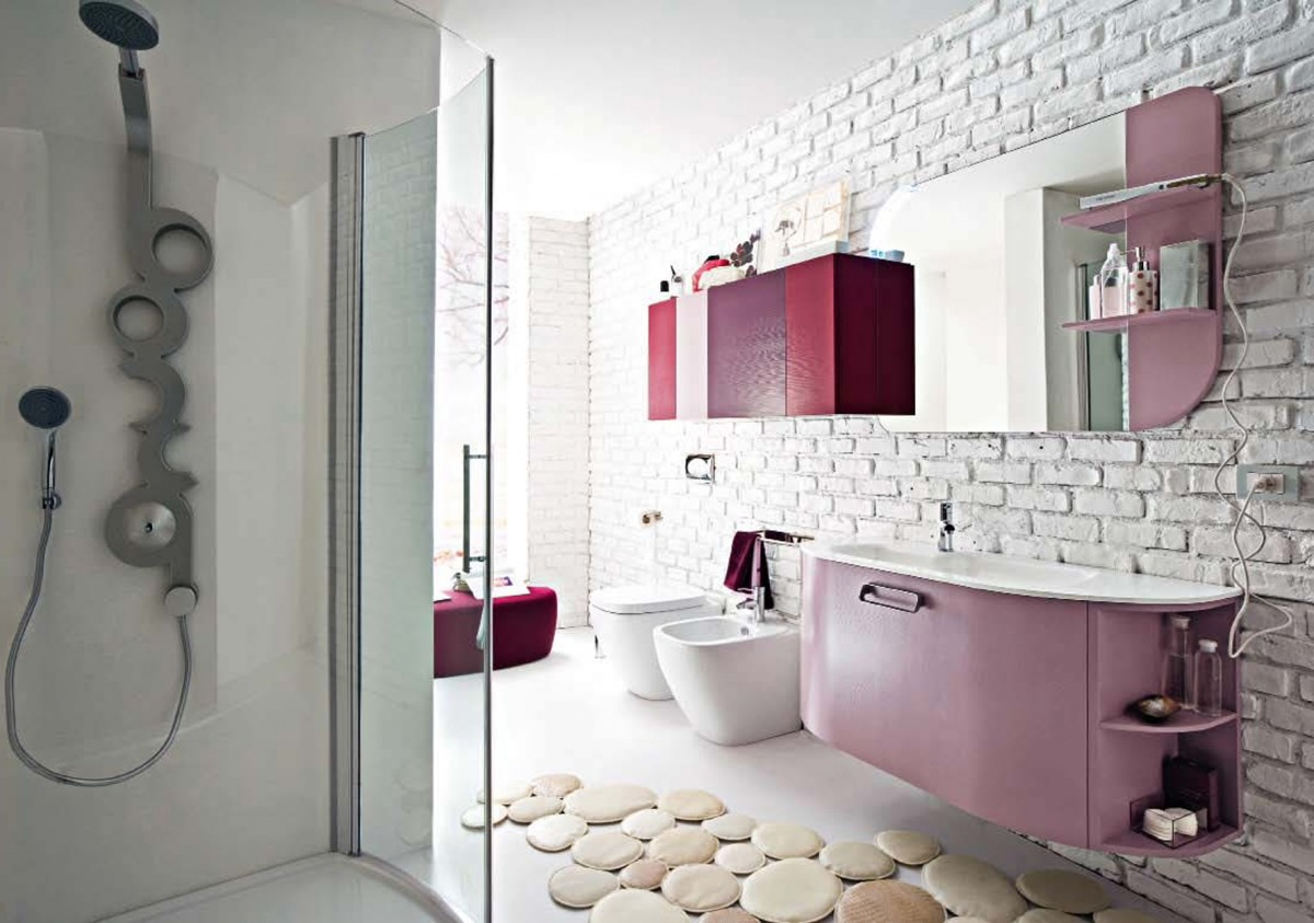 kitchen-bathroom-beautiful-pink-bathroom-decoration-using-modern-mounted-wall-pink-bathroom-vanity-including-white-brick-tile-bathroom-wall-and-white-laminate-ikea-bathroom-counter-tops-attractive-fu