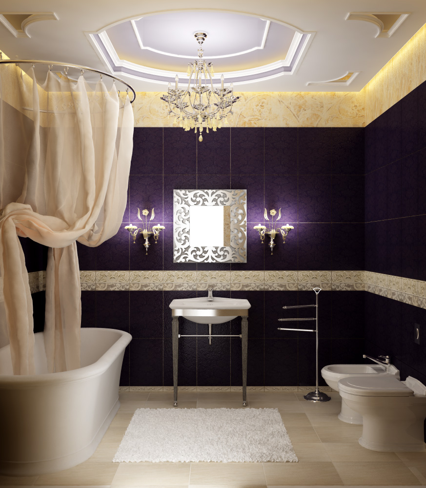 Luxury Bathroom Designs Pictures Purple Tile Bathroom Wall Cream Curtain