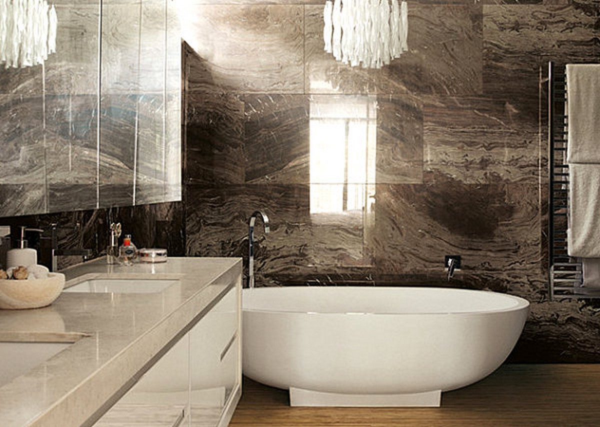 luxury-bathroom-design-with-Brown-marble-bathroom-tile-from-Rex-Ceramiche-Artistiche-and-white-freestanding-bathtub-decoration-ideas