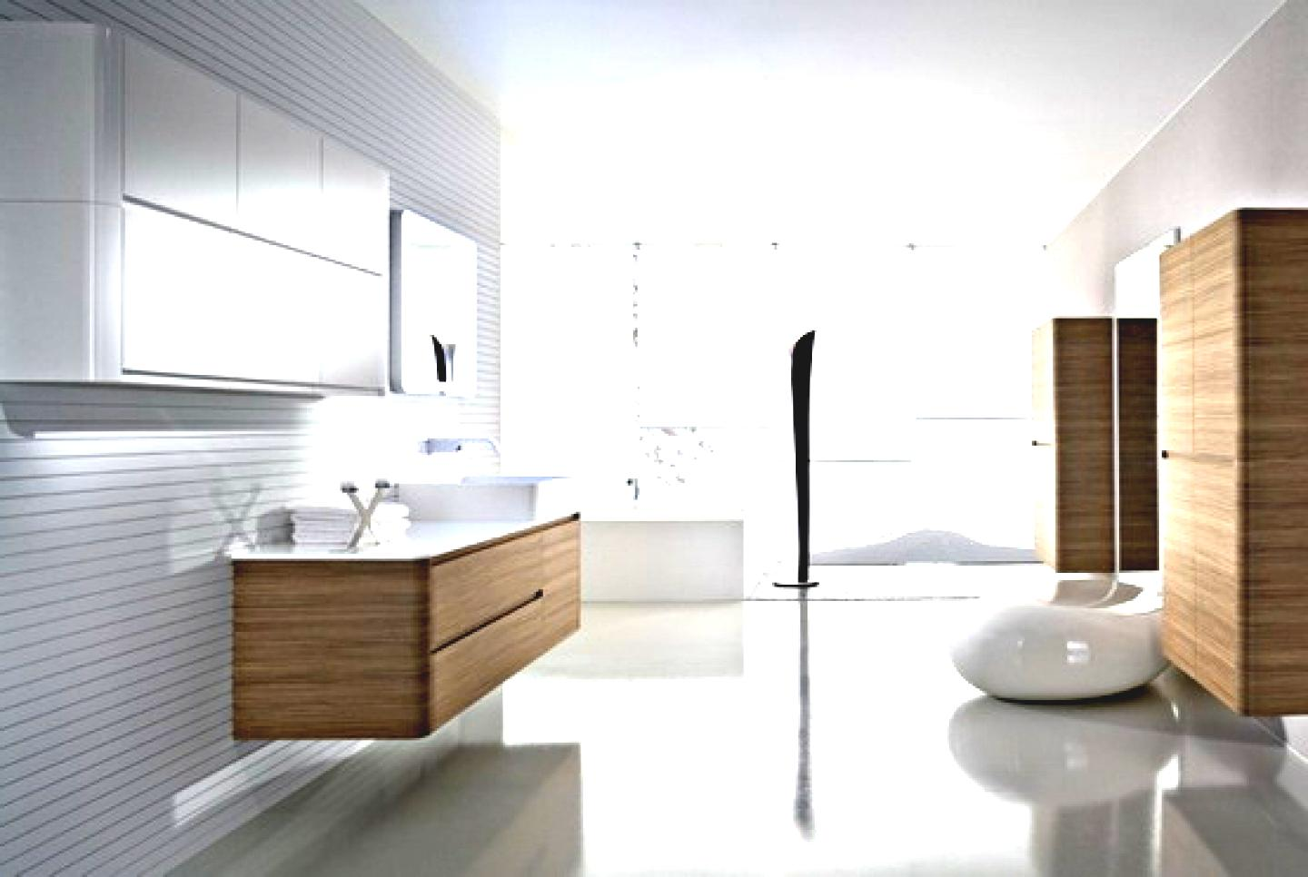 luxury-bathroom-tile-ideas-with-brown-floating-vanity-cabinets-and-white-double-sink-also-shiny-tiles-flooring-and-glass-wall-curtains