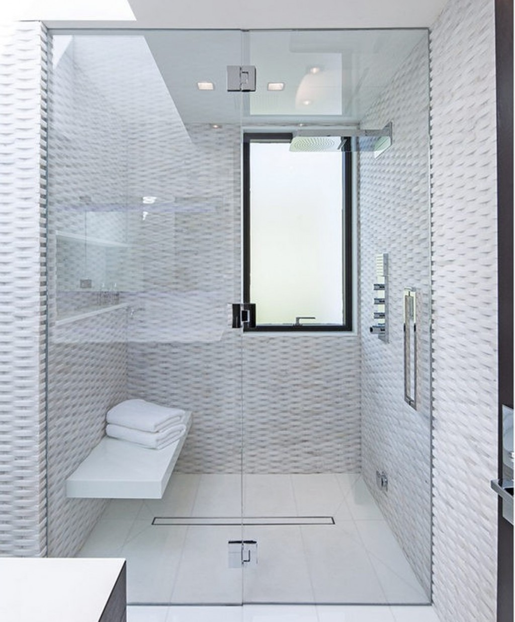 luxury shower stall with folding glass door and