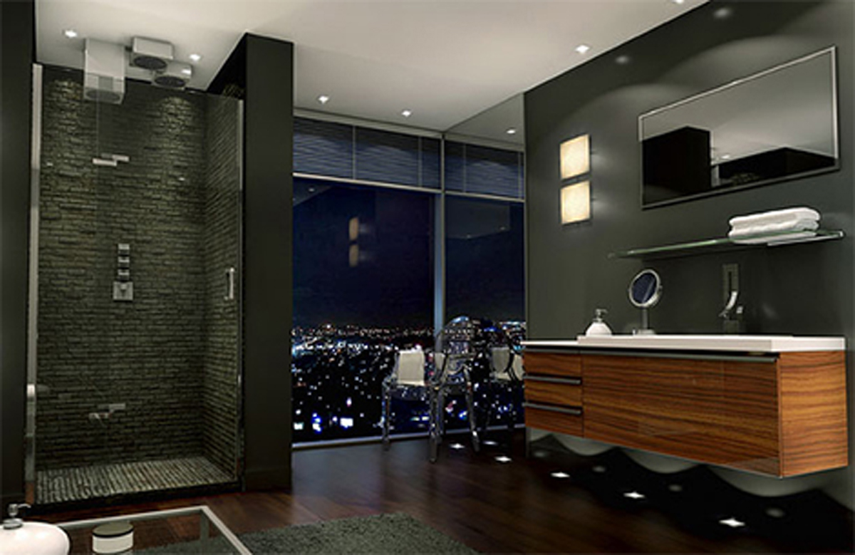 natural-luxurious-standing-shower-bathroom-decor-using-wooden-tile-black-wall-paint-natural-granite-wall-shower-wooden-fiberglass-bathroom-sink-rectangle-mirror-grey-velvet-carpet-luxury-modern-bath