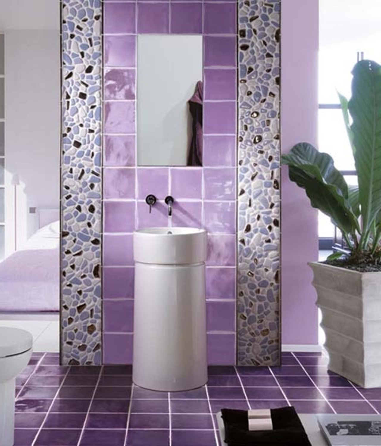 30 cool pictures and ideas of digital wall tiles for bathroom for Purple and yellow bathroom ideas