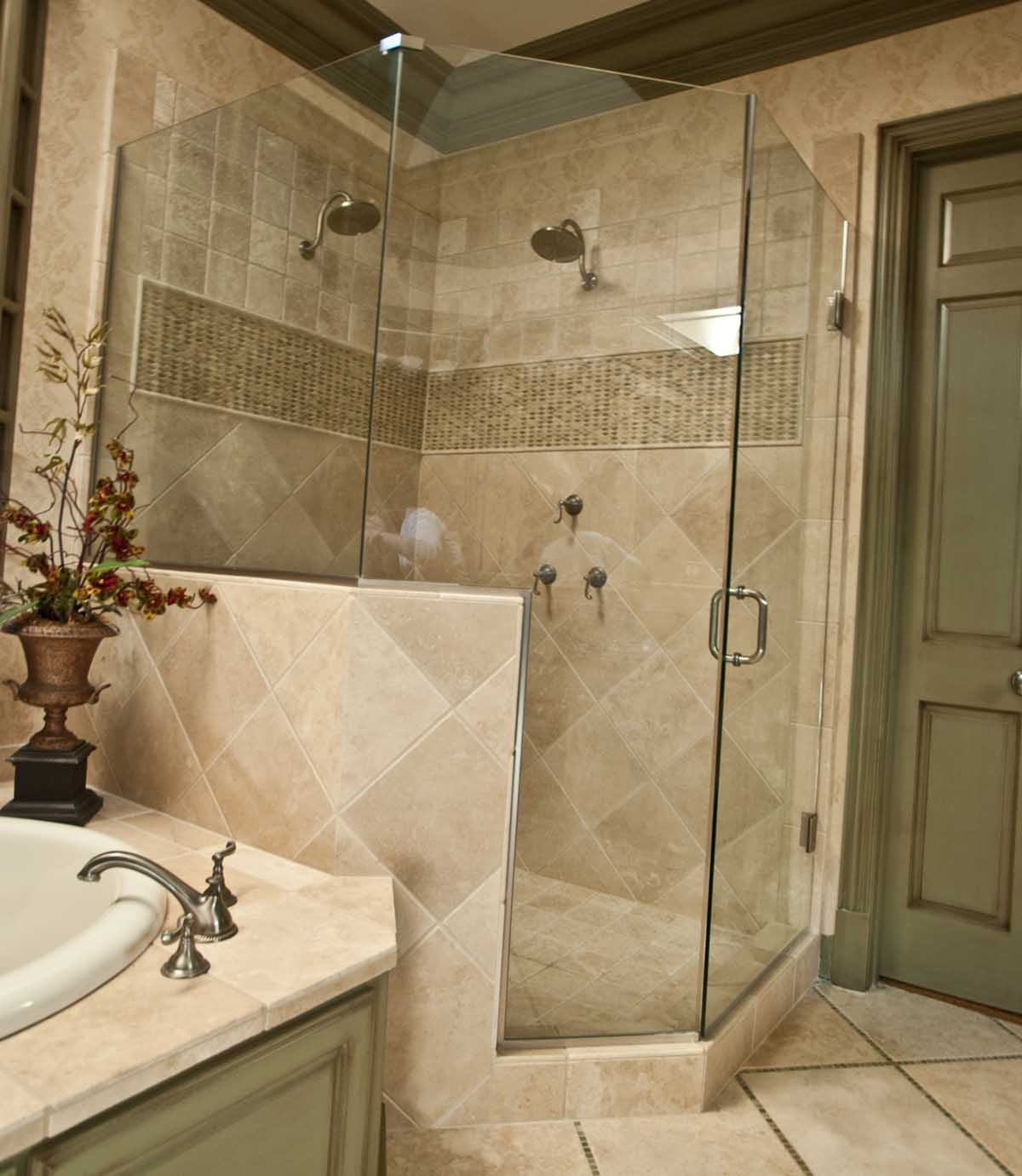 rustic-bathroom-ideas-beige-ceramic-stone-lowes-bathroom-tile-double-handle-stainless-steel-bathroom-faucet-dark-green-painted-wooden-bathroom-door-floral-canvas-painting-walls-decor