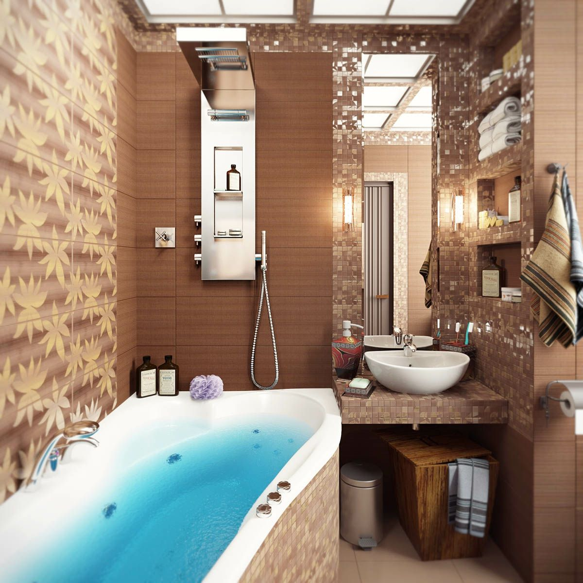 soft-brown-paint-and-bathroom-with-flower-bathroom-tiles-design