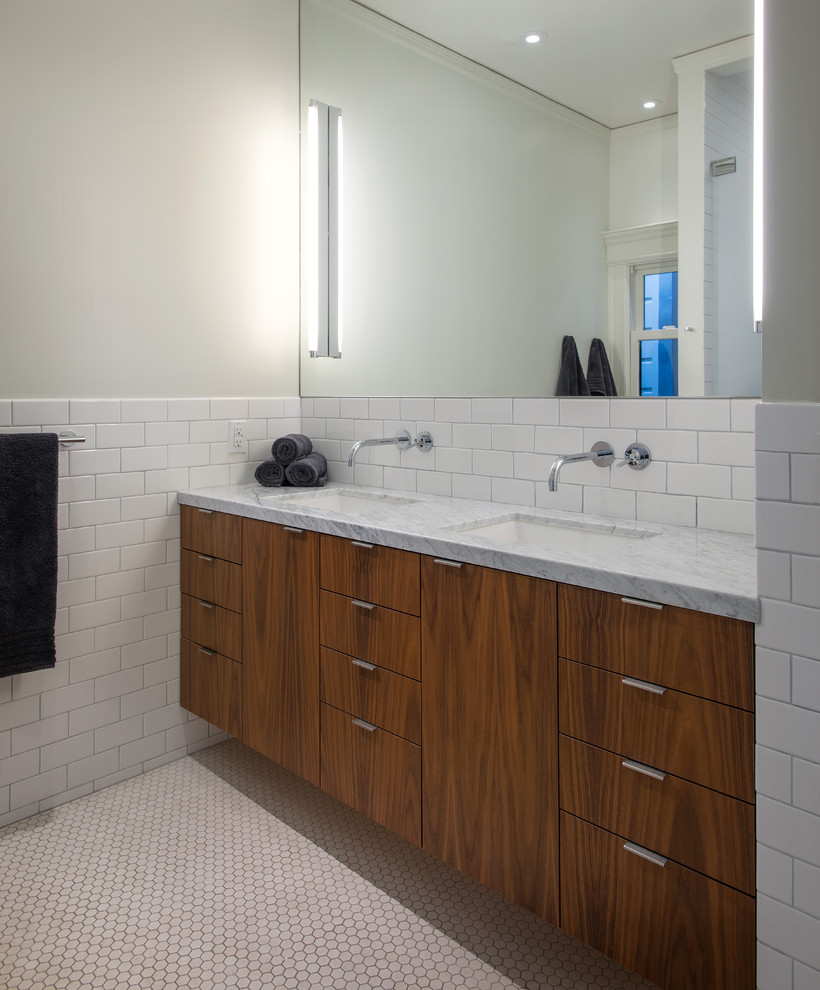 subway-tile-ideas-Bathroom-Contemporary-with-beige-wall-black-towel