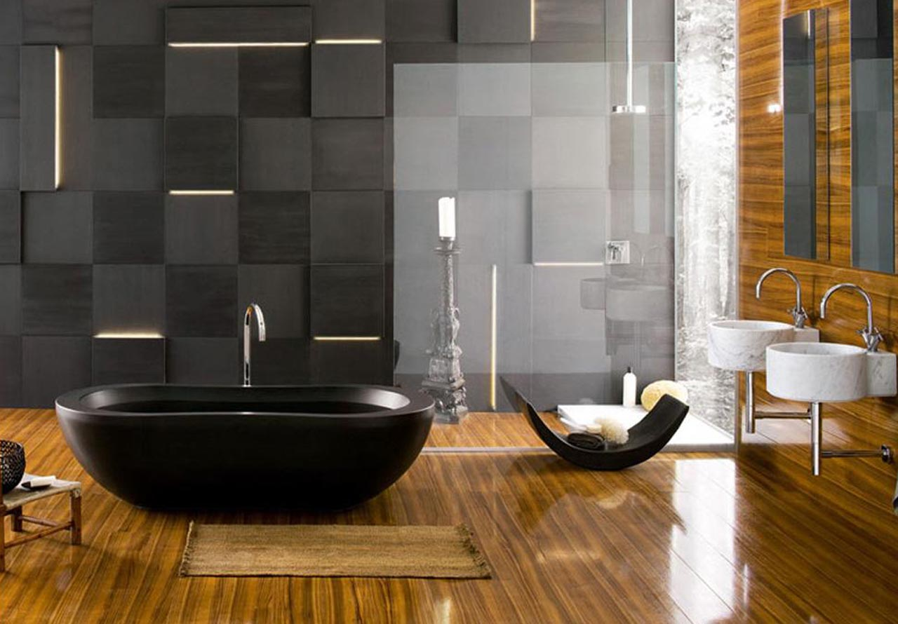 terrific-bathroom-decor-with-high-end-bathroom-faucets-also-laminated-wood-flooring-ideas