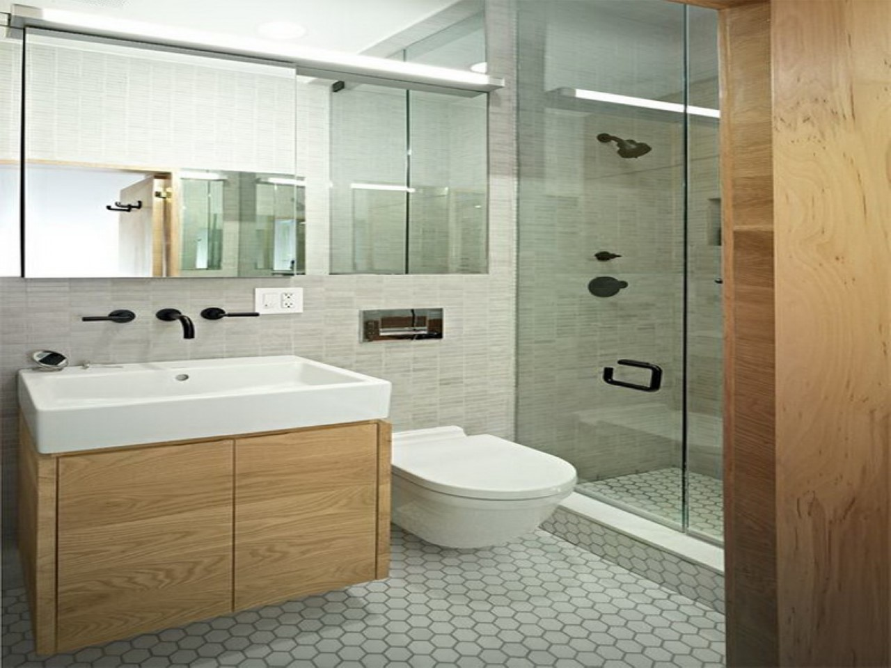Bathroom-Floating-Flush-And-Clear-Glass-Shower-Door-Feat-Light-
