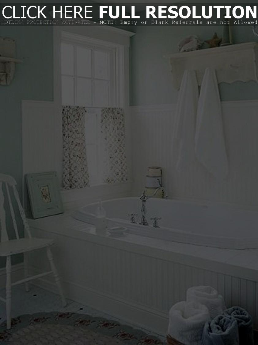 bathroom-styles-cottage-style-with-wainscoting-and-open-shelf-with-hooks-and-cafe-curtain