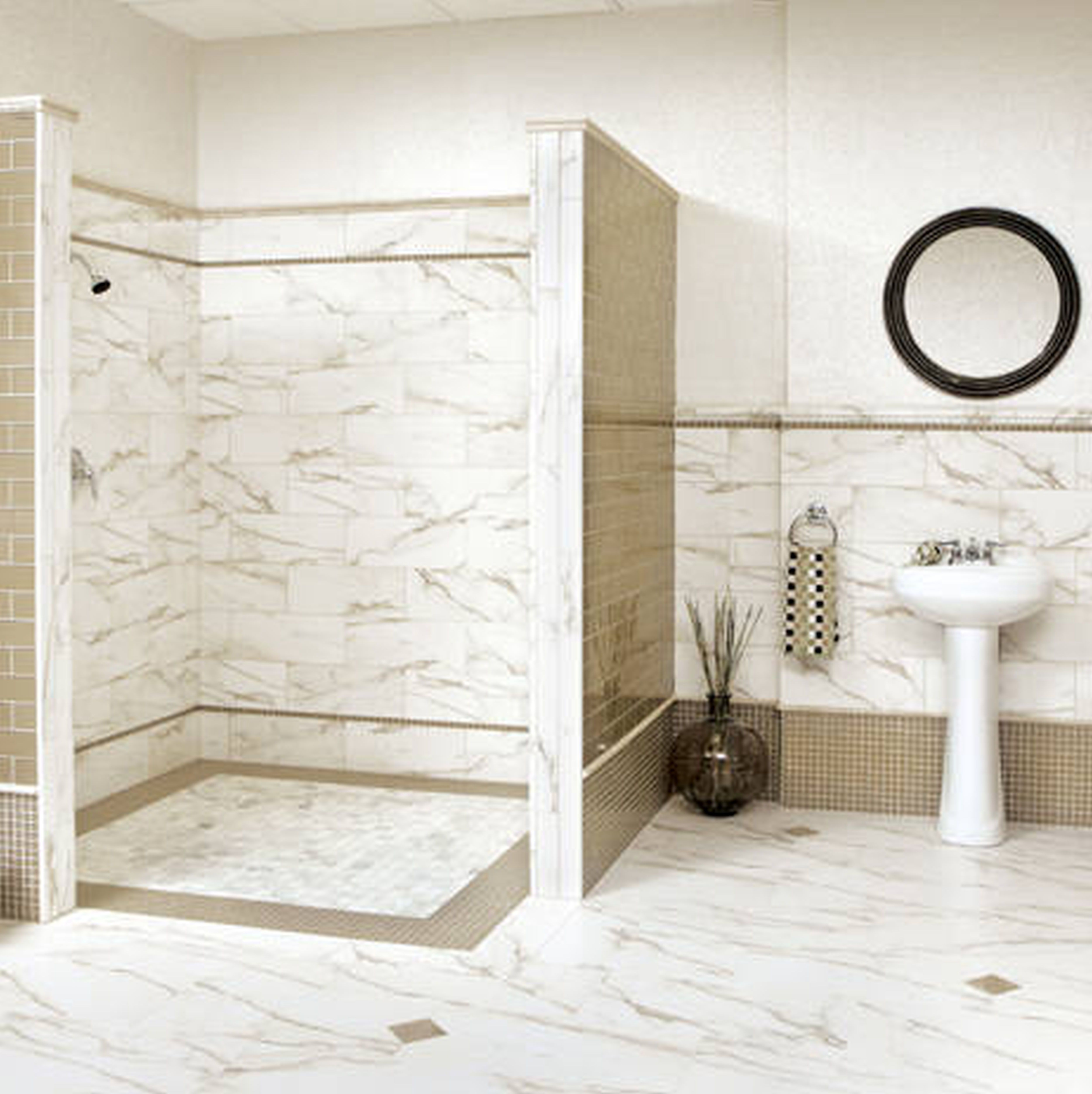 interior-white-marble-bathroom-tile-wall-connected-by-white-washstand-and-round-black-wooden-mirror-on-the-wall-interesting-bathroom-tile-designs-for-small-bathrooms-brings-pleasing-nuance